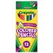 <strong>Crayola LLC</strong> Long Barrel Colored Woodcase Pencils, 3.3 mm, Assorted Colors, 12/Set