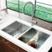 "32"" x 19"" Equal Double Bowl Zero Radius 16 Gauge Undermount Kitchen Sink"