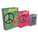 Cheungs 3 Piece Book Box with Wild Colors, Peace and Love Set