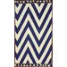 nuLOOM Flatweave Navy/White Wave Border Area Rug