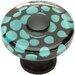 "Atlas Homewares Glass 1.5"" Emarld Polka Dot Square Knob"