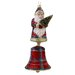 David Strand Glass Plaid Stewart Santa Bell Ornament