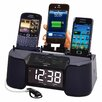<strong>Ashley Entertainment Corporation</strong> Dok Four Port Universal Charger with Speaker, Clock, Alarm and FM Radio