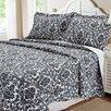 Textiles Plus Inc. Damask 3 Piece Quilt Set