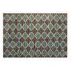 Chesapeake Merchandising Inc. Printed Turquoise and Taupe Matrix Geometric Outdoor Area Rug