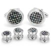 <strong>Ox and Bull</strong> Onyx and Mother of Pearl Checker Stud Set