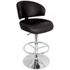 LumiSource Regent Adjustable Height Swivel Bar Stool in Black