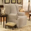 <strong>Sure-Fit</strong> Cotton Duck Wing Chair T-Cushion Slipcover