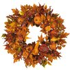 "Nearly Natural 28"" Harvest Wreath in Russet and Gold"