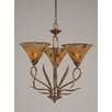Toltec Lighting Leaf 3 Light  Chandelier with Pen Shell Shade