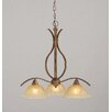 Toltec Lighting Swoop 3 Light  Chandelier with Crystal Glass Shade