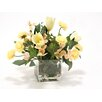 Distinctive Designs Waterlook® Soft Dogwood, Tulips and Ranunculus in Square Glass