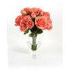 Distinctive Designs Waterlook® Coral Mix of Silk Peonies and Roses in Footed Glass Urn