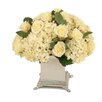 Distinctive Designs Silk Hydrangeas and Rosebuds in Footed Square Pewter Planter