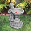 Design Toscano Georgina's Garden Gaze Child at Birdbath Statue