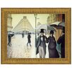 Design Toscano Rue du Paris, Rainy Day, 1877 by Gustave Caillebotte Framed Painting Print