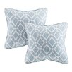 Madison Park Delray Diamond Printed Square Pillow (Set of 2)