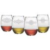 Susquehanna Glass Mandalas Stemless Wine Glass (Set of 4)