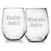 Susquehanna Glass Mommy Juice and Daddy Juice Stemless Wine Glass (Set of 2)