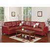 Poundex Bobkona Karen Bonded Leather Reversible Sectional Sofa