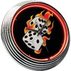 "<strong>Flames 14.75"" Dice Neon Wall Clock</strong> by On The Edge Marketing"