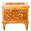 EXP Tropical Acacia Royal Elephant Design Raised Wood Storage Chest