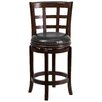 Flash Furniture 24'' Wood Counter Stool with Leather Swivel Seat