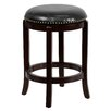 Flash Furniture 24'' Backless Wood Counter Stool with Leather Swivel Seat