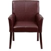 Flash Furniture Leather Executive Guest Side Chair  with Mahogany Legs