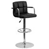 Flash Furniture Contemporary Quilted Vinyl Adjustable Height Bar Stool with Arms