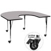 Flash Furniture Mobile Horseshoe Activity Table with Thermal Fused Top and Height Adjustable Legs