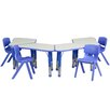 Flash Furniture Trapezoid Activity Table Configuration with 4 School Stack Chairs