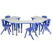 Flash Furniture Trapezoid Activity Table Configuration with 5 School Stack Chairs