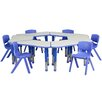 Flash Furniture Trapezoid Activity Table Configuration with 6 School Stack Chairs
