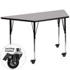 Flash Furniture Mobile Trapezoid Activity Table with Thermal Fused Top and Height Adjustable Legs