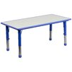 "Flash Furniture Height Adjustable 23.63"" W x 47.25"" D Rectangular Activity Table"