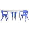 Flash Furniture Trapezoid Activity Table Configuration with 2 School Stack Chairs