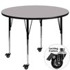 Flash Furniture Mobile Round Activity Table with Thermal Fused Top and Height Adjustable Legs