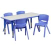 "Flash Furniture Adjustable 21.88"" W x 47.25"" D Rectangular Activity Table with 4 School Stack Chairs"