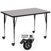 Flash Furniture Mobile Rectangular Activity Table with Thermal Fused Top and Height Adjustable Legs