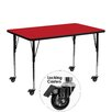 Flash Furniture Mobile Rectangular Activity Table with 1.25'' Thick High Pressure Top and Height Adjustable Legs