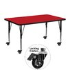 Flash Furniture Mobile Rectangular Activity Table with 1.25'' Thick High Pressure Top and Height Adjustable Pre-School Legs
