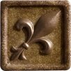 "Marazzi Romancing the Stone 2"" x 2"" Compressed Stone Fleur de Lis Insert with Bronze Inlay in Noce"