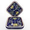 """Le Souk Ceramique Citronique Design 9"""" Square Plates (Set of 4)"""