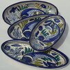 "<strong>Le Souk Ceramique</strong> Aqua Fish Design 4.5"" Oval Platter (Set of 4)"