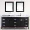 "Bauhaus Bath Coraline 75"" Double Bathroom Vanity Set with Mirror"