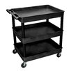 "Luxor Cart Serv Plas 3Tub Black 24""D X 32""W"