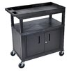 Luxor E Series Utility Cart with 2 Tub/1 Flat Shelves, Cabinet and Electric