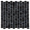 Emser Tile Confetti Oval Round Porcelain Glazed Mosaic in Black