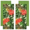 Design Imports 4 Piece Palm Paradise Print And Waffle Dishtowel Set